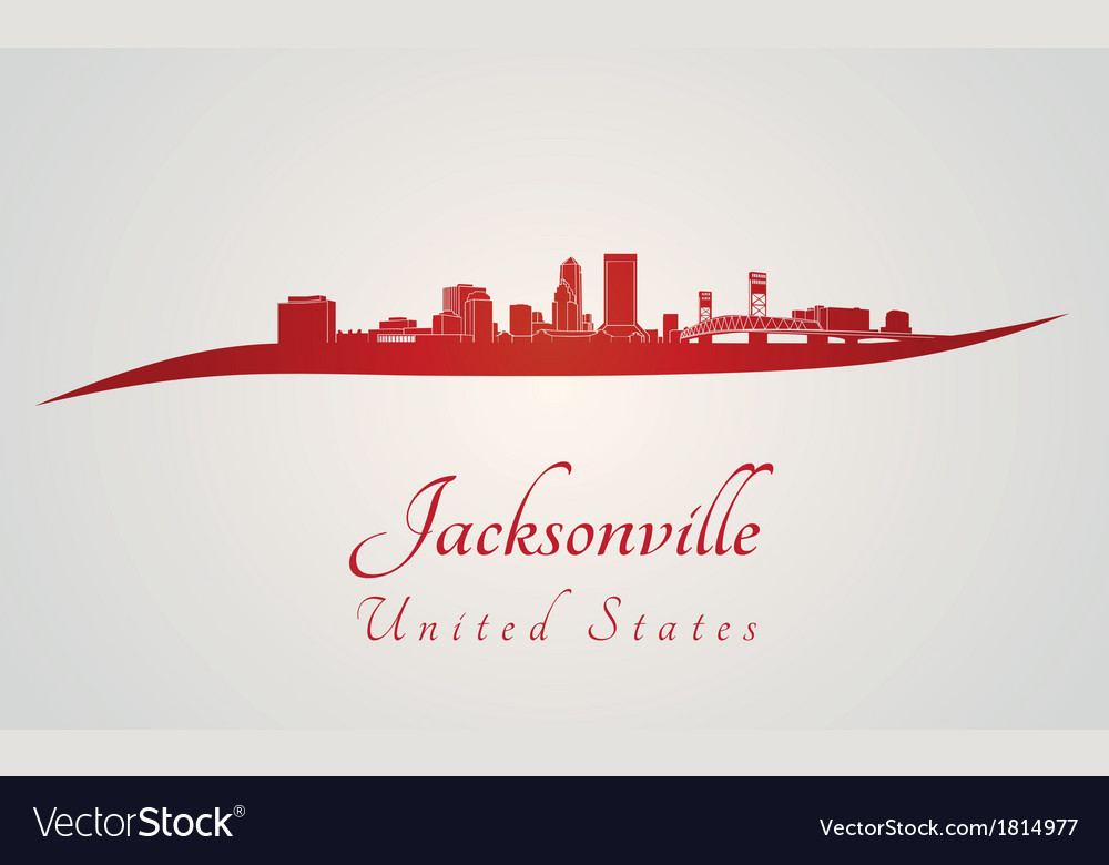 Jacksonville skyline in red vector | Price: 1 Credit (USD $1)