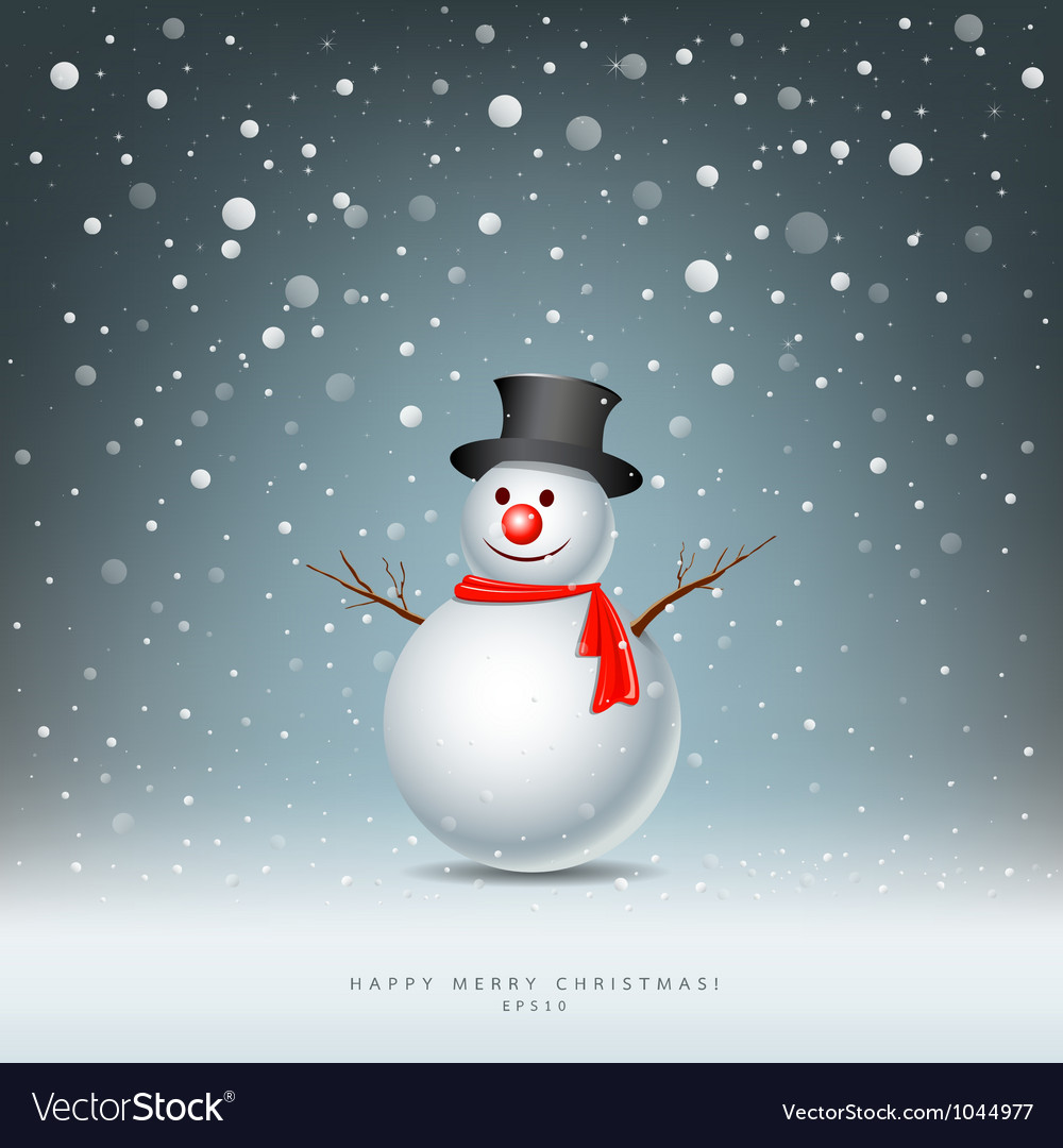 Merry christmas snowman vector | Price: 1 Credit (USD $1)