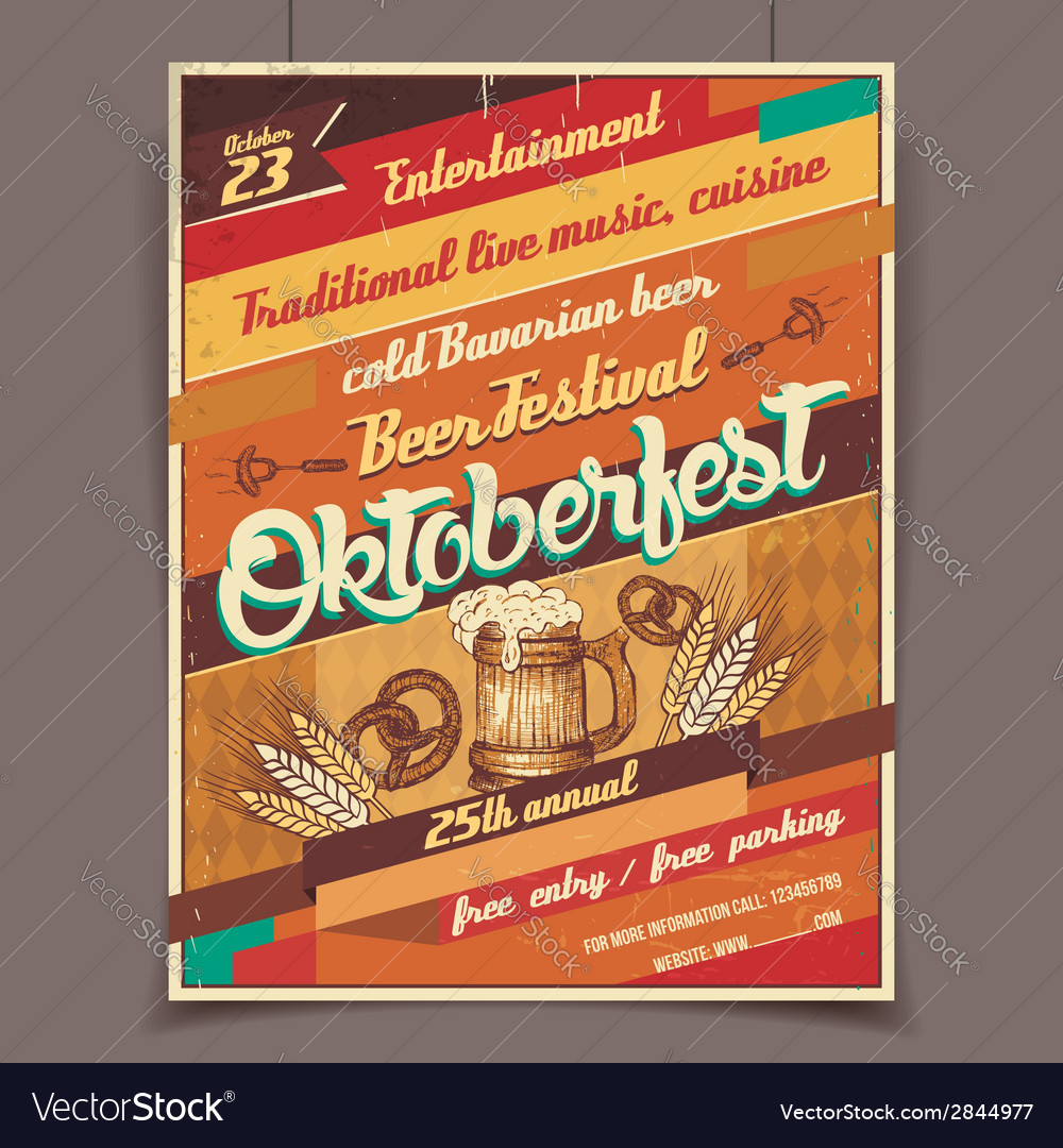 Oktoberfest beer festival retro poster vector | Price: 1 Credit (USD $1)