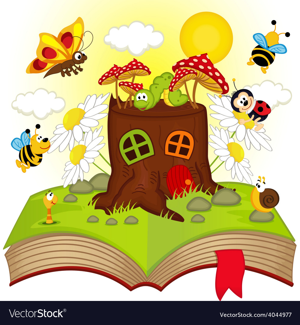 Open book with house stump and insects vector | Price: 3 Credit (USD $3)