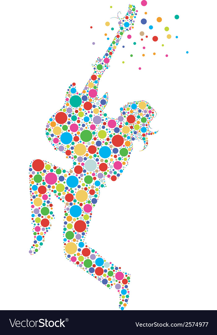 Rock star guitarist colorful silhouette vector | Price: 1 Credit (USD $1)