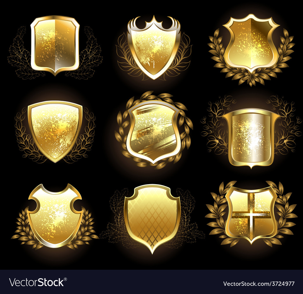 Set of golden shields vector | Price: 1 Credit (USD $1)