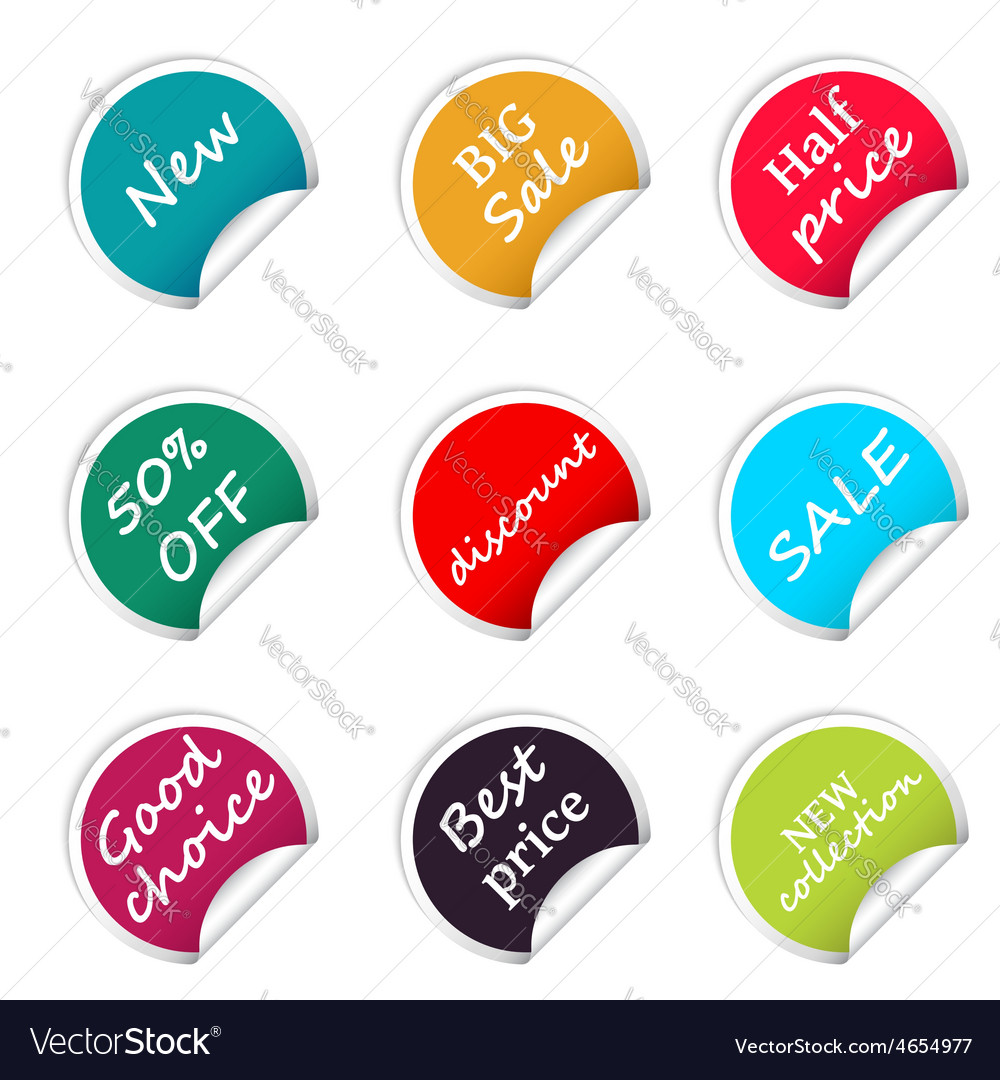Set of web sale circle stickers for online shop vector | Price: 1 Credit (USD $1)