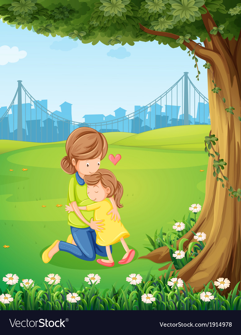 A mother hugging her daughter under the tree vector | Price: 3 Credit (USD $3)