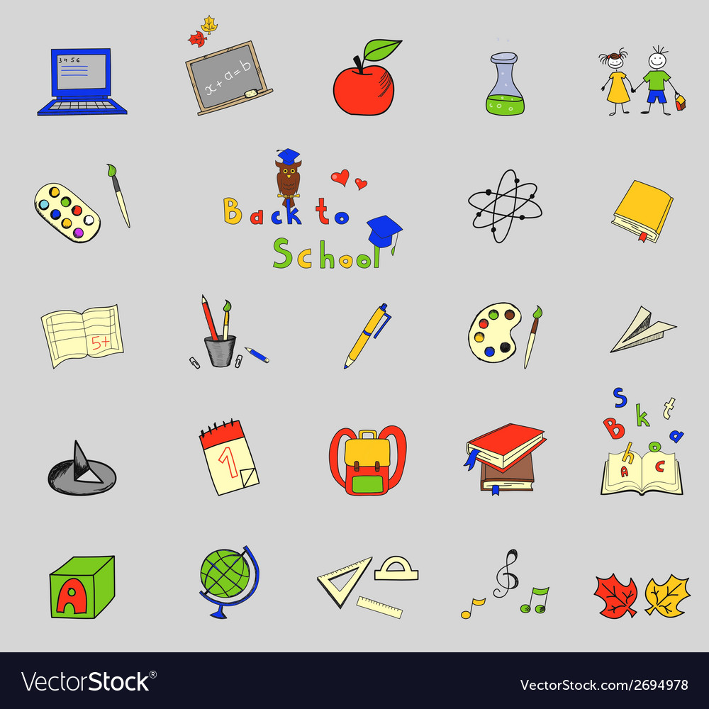 Back to school big doodles set on lined paper vector | Price: 1 Credit (USD $1)