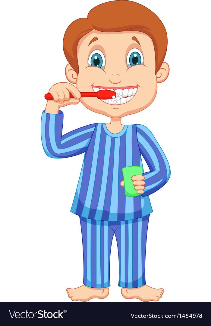 Cute little boy cartoon brushing teeth vector | Price: 1 Credit (USD $1)