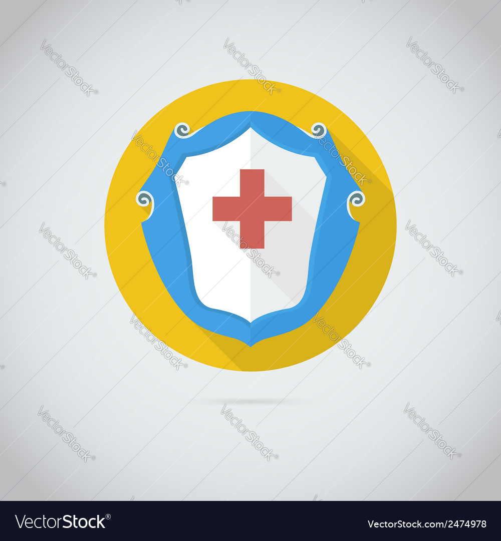 Flat icon with red cross vector | Price: 1 Credit (USD $1)
