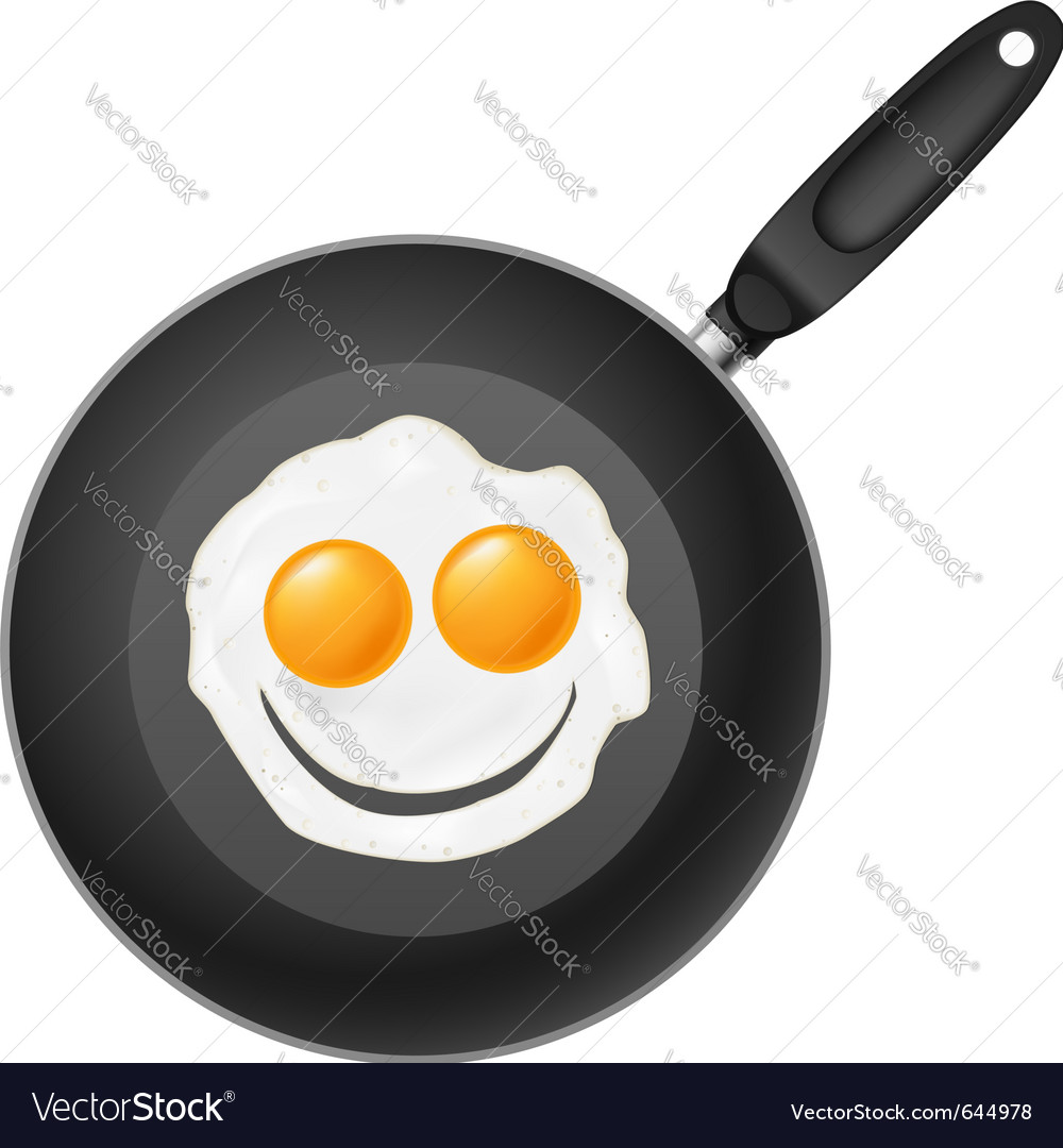Frying pan with smile egg vector | Price: 1 Credit (USD $1)