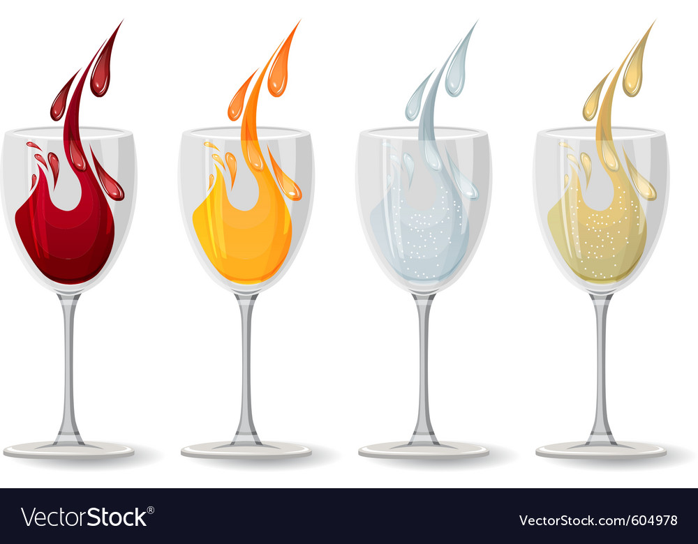 Glasses with different drinks on white vector | Price: 1 Credit (USD $1)