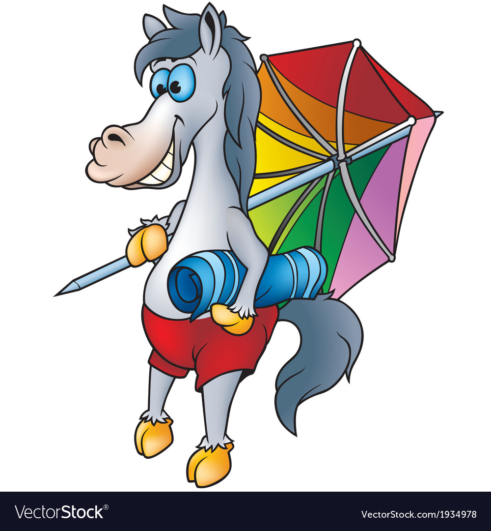 Horse and beach umbrella vector | Price: 3 Credit (USD $3)