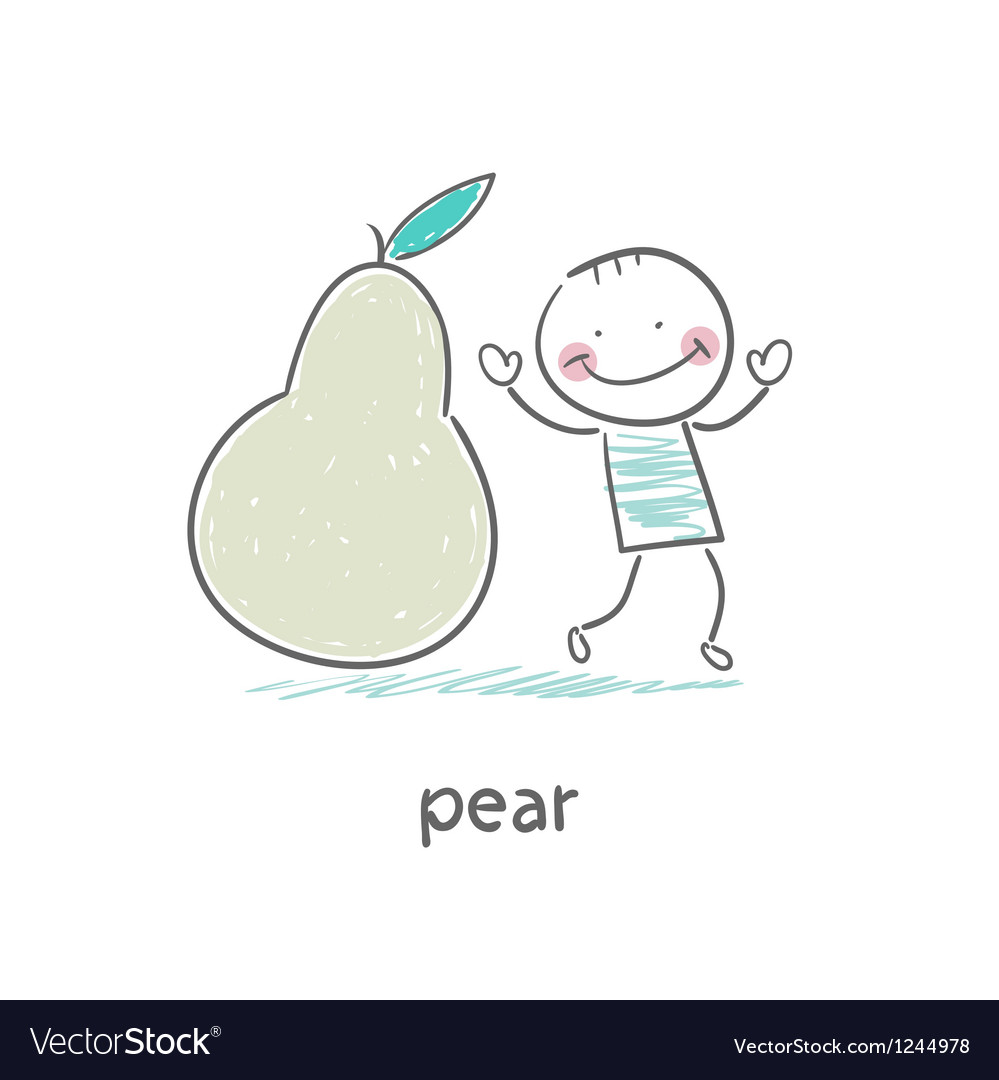Man and pear vector | Price: 1 Credit (USD $1)