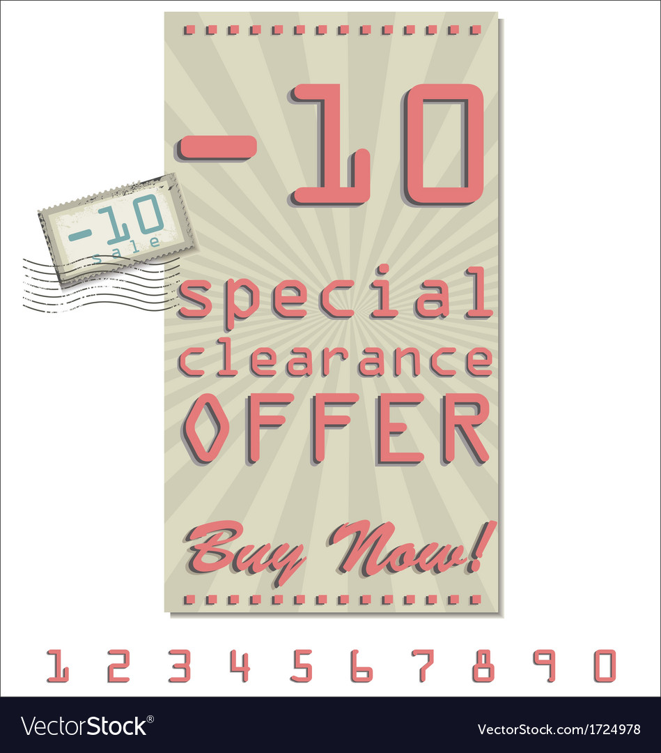 Sale offer old retro vintage background vector | Price: 1 Credit (USD $1)