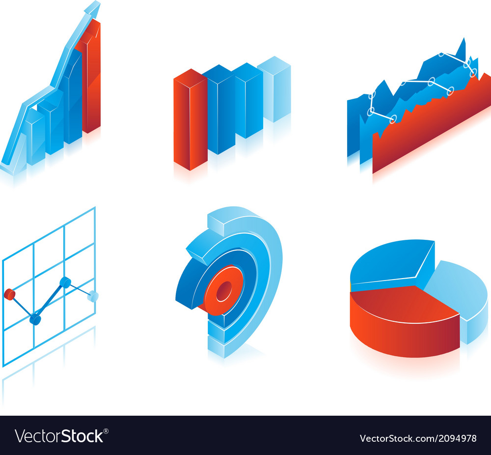 Set of 3d charts vector | Price: 1 Credit (USD $1)