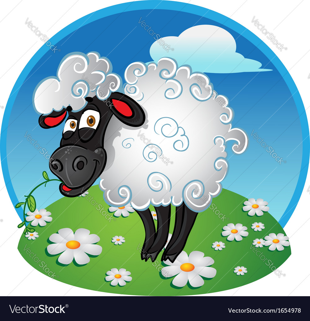 Sheep with blade of grass on color background vector | Price: 3 Credit (USD $3)