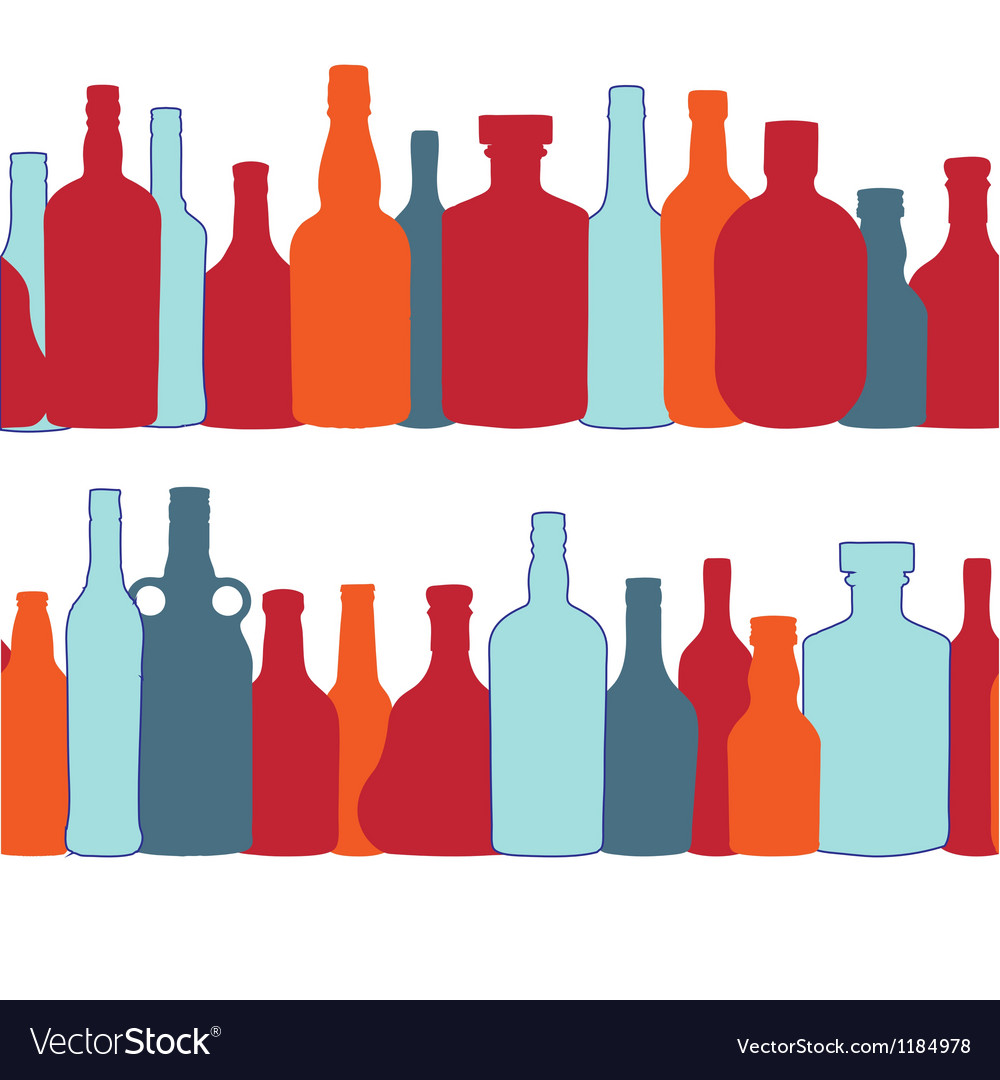 Silhouette alcohol bottle seamless pattern vector | Price: 1 Credit (USD $1)