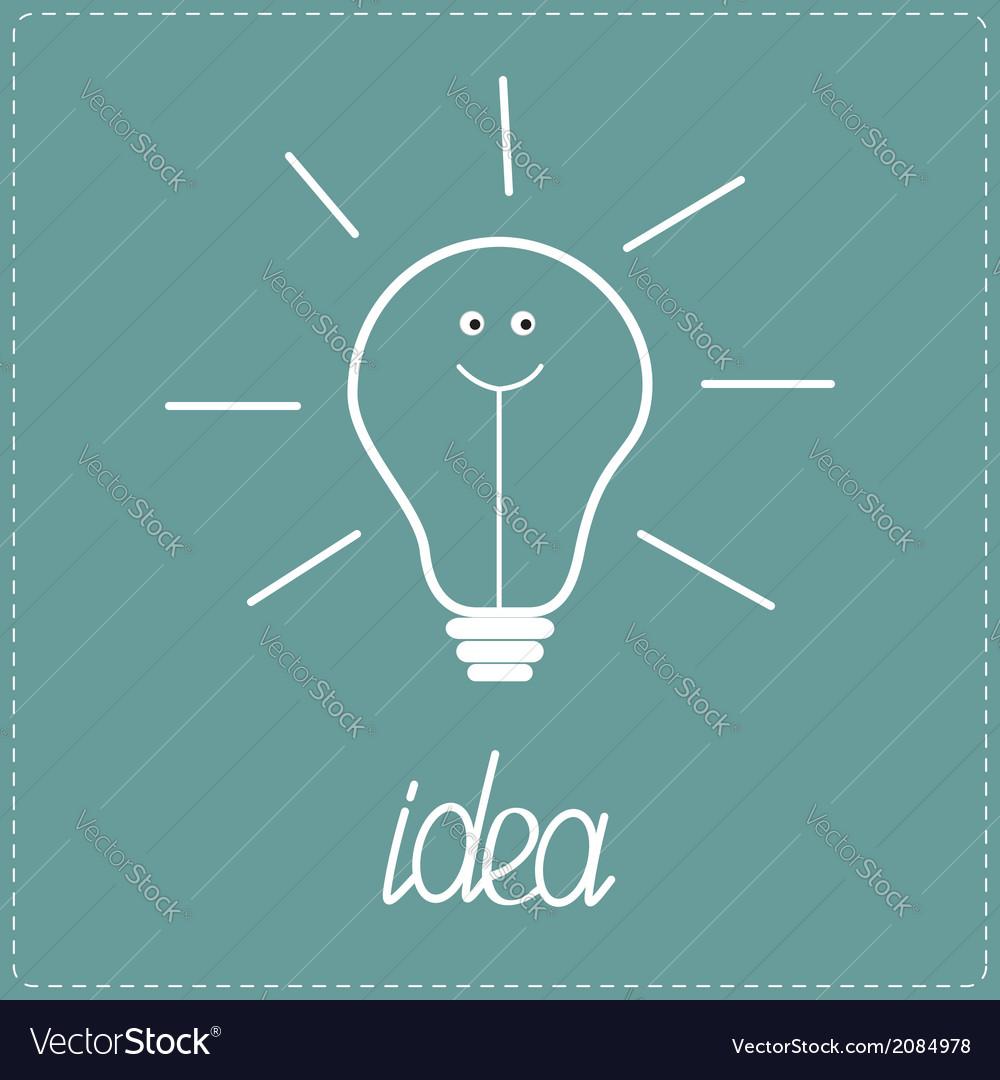 White bulb with happy face idea concept vector | Price: 1 Credit (USD $1)