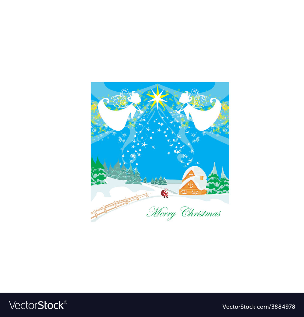 Winter landscape with angels and santa vector | Price: 1 Credit (USD $1)