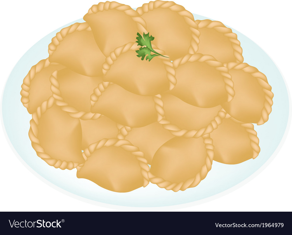 A dish of mini thai curry puffs vector   Price: 1 Credit (USD $1)