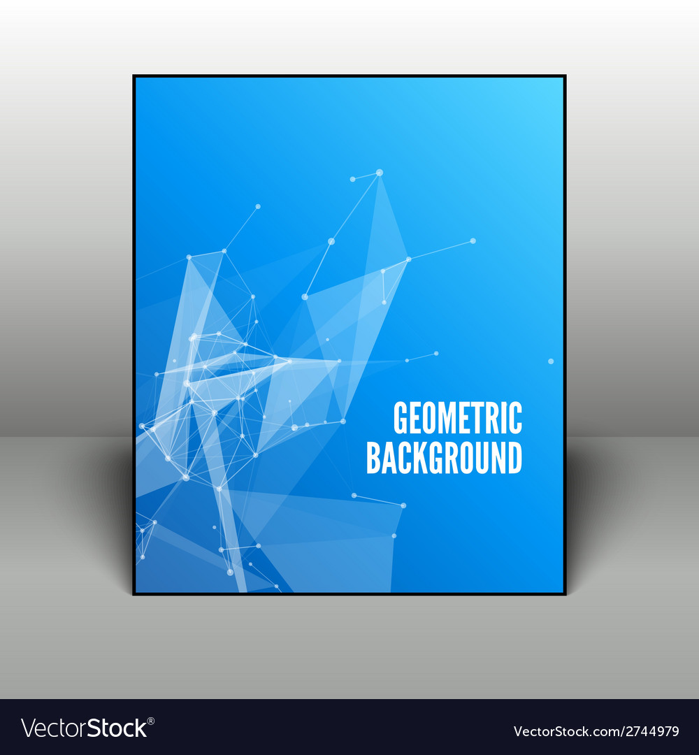 Abstract blue geometric background in black frame vector