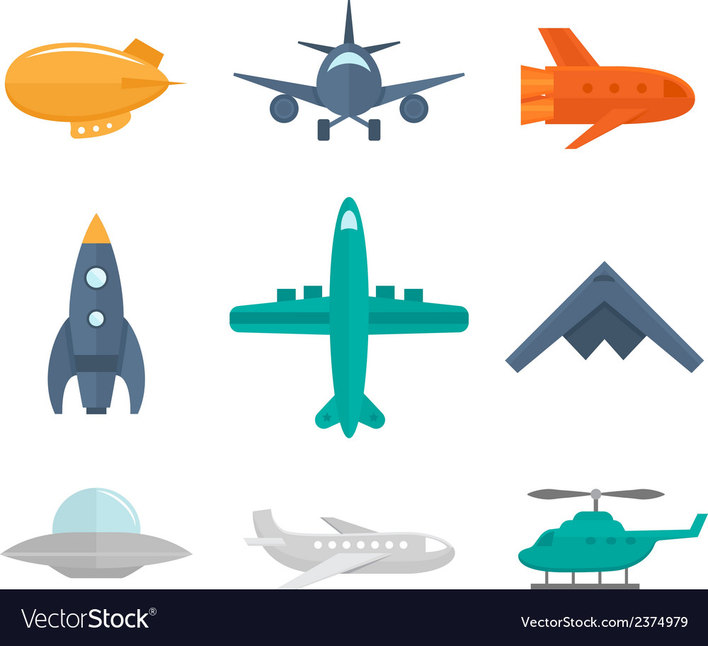 Aircraft icons flat vector | Price: 1 Credit (USD $1)