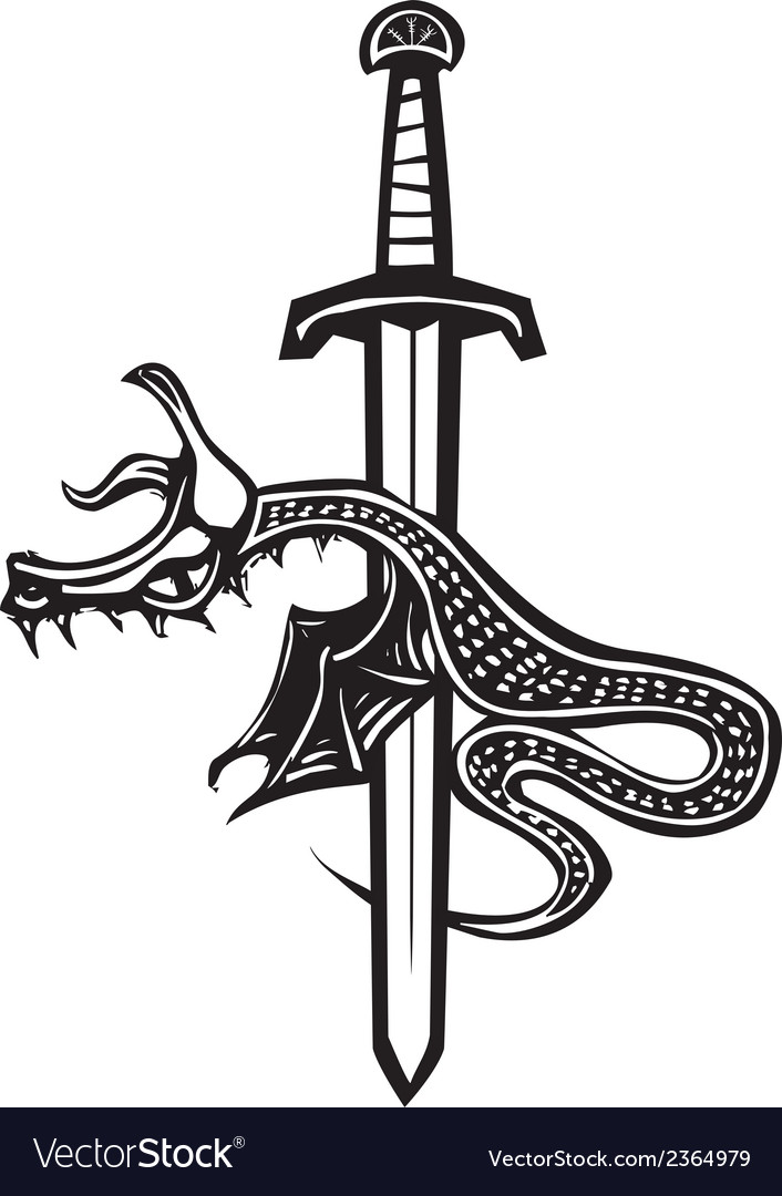 Dragon sword down vector | Price: 1 Credit (USD $1)