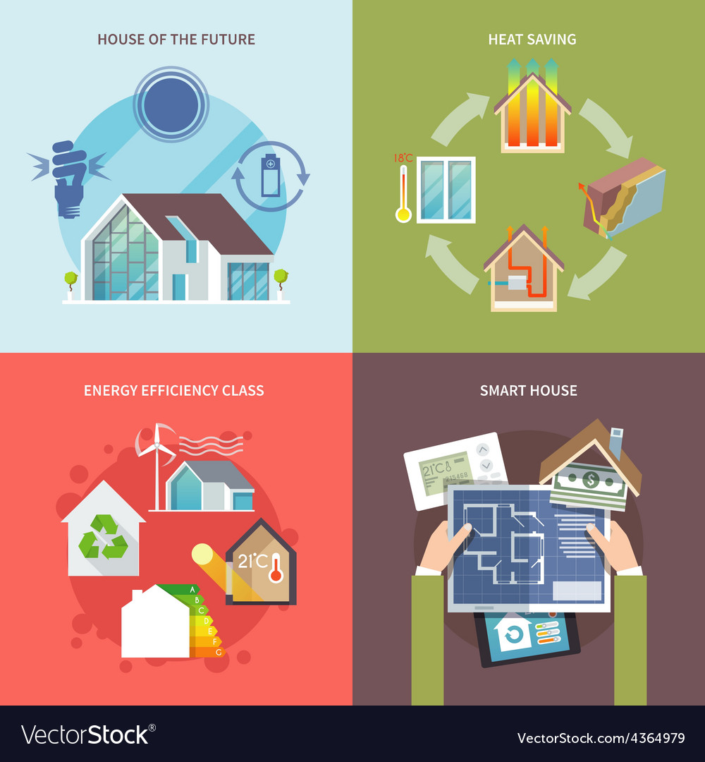 Energy saving house flat vector   Price: 1 Credit (USD $1)
