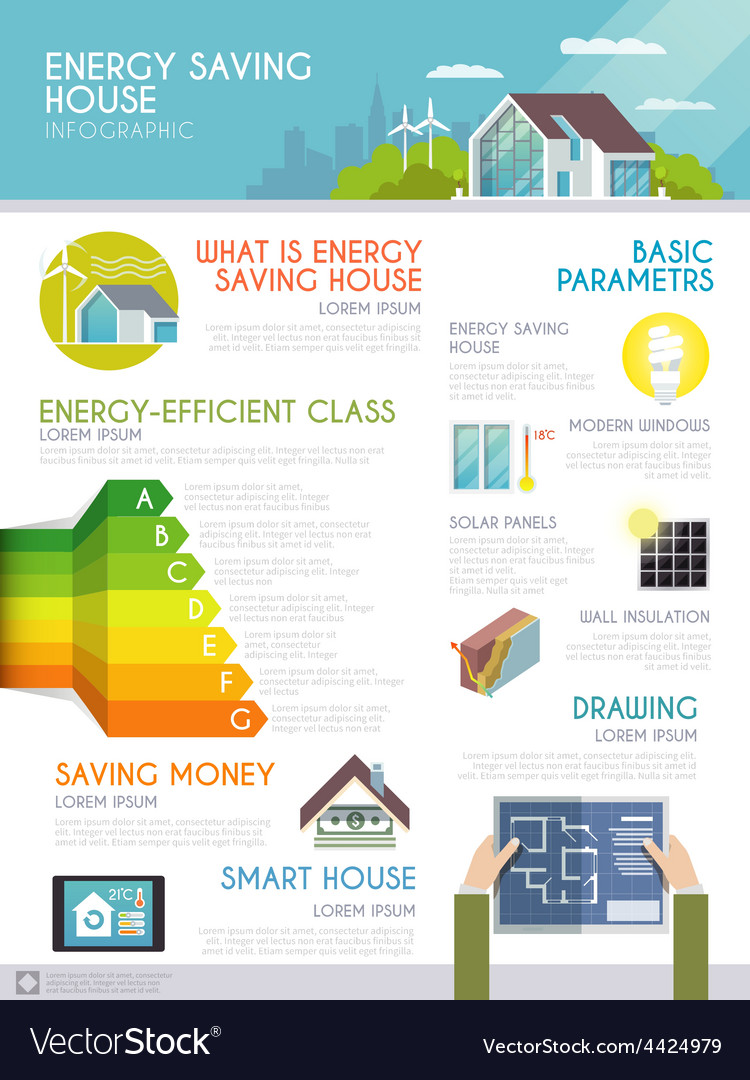 Energy saving house infographics vector | Price: 1 Credit (USD $1)