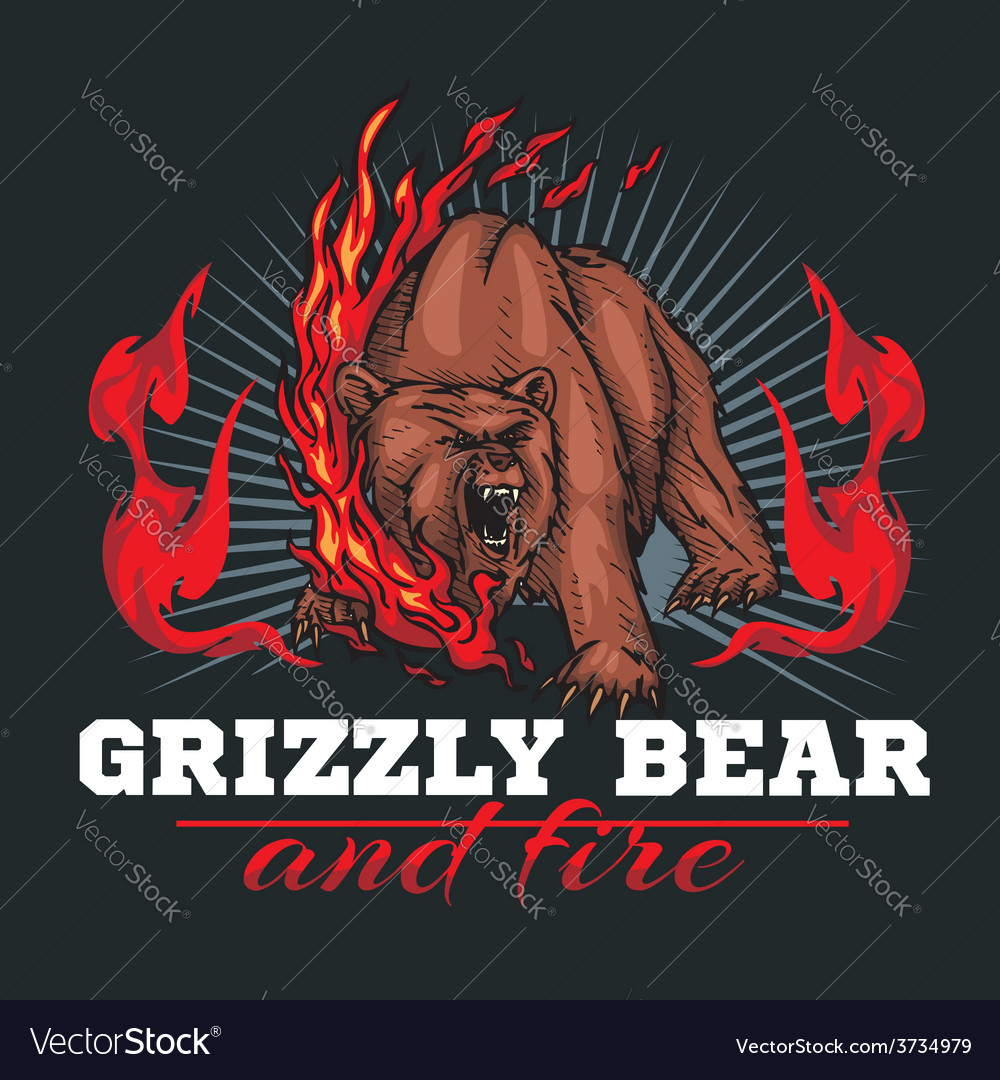 Grizzly bear and fire emblem elements  vector