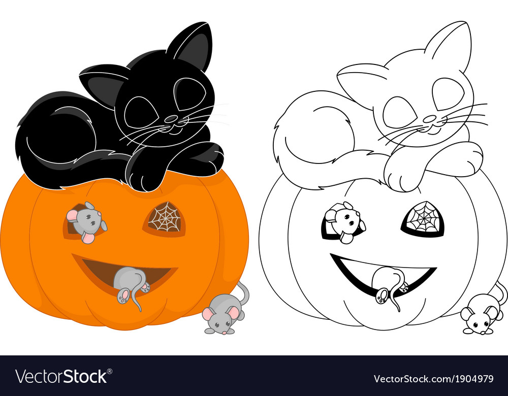 Halloween coloring page vector | Price: 1 Credit (USD $1)