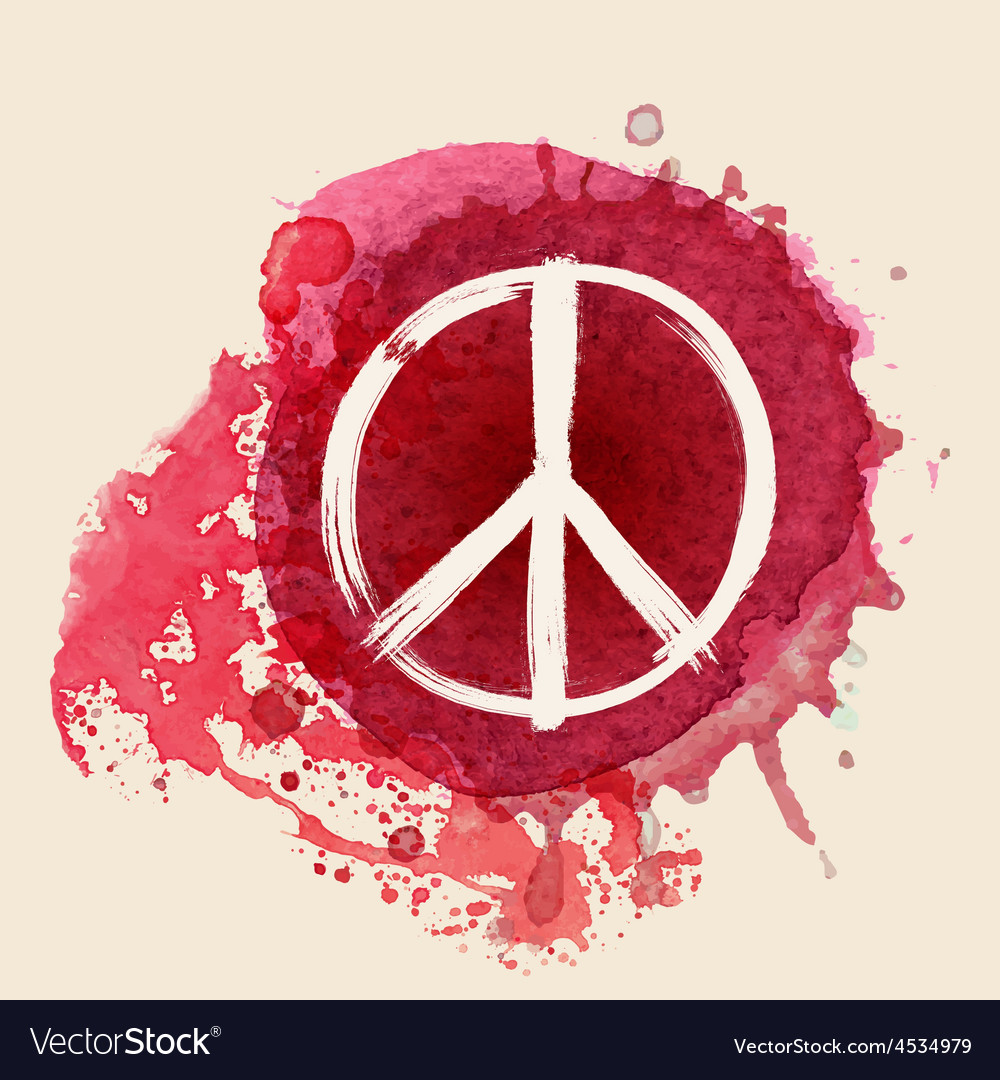 Peace sign brush stroke on red ink splat vector | Price: 1 Credit (USD $1)