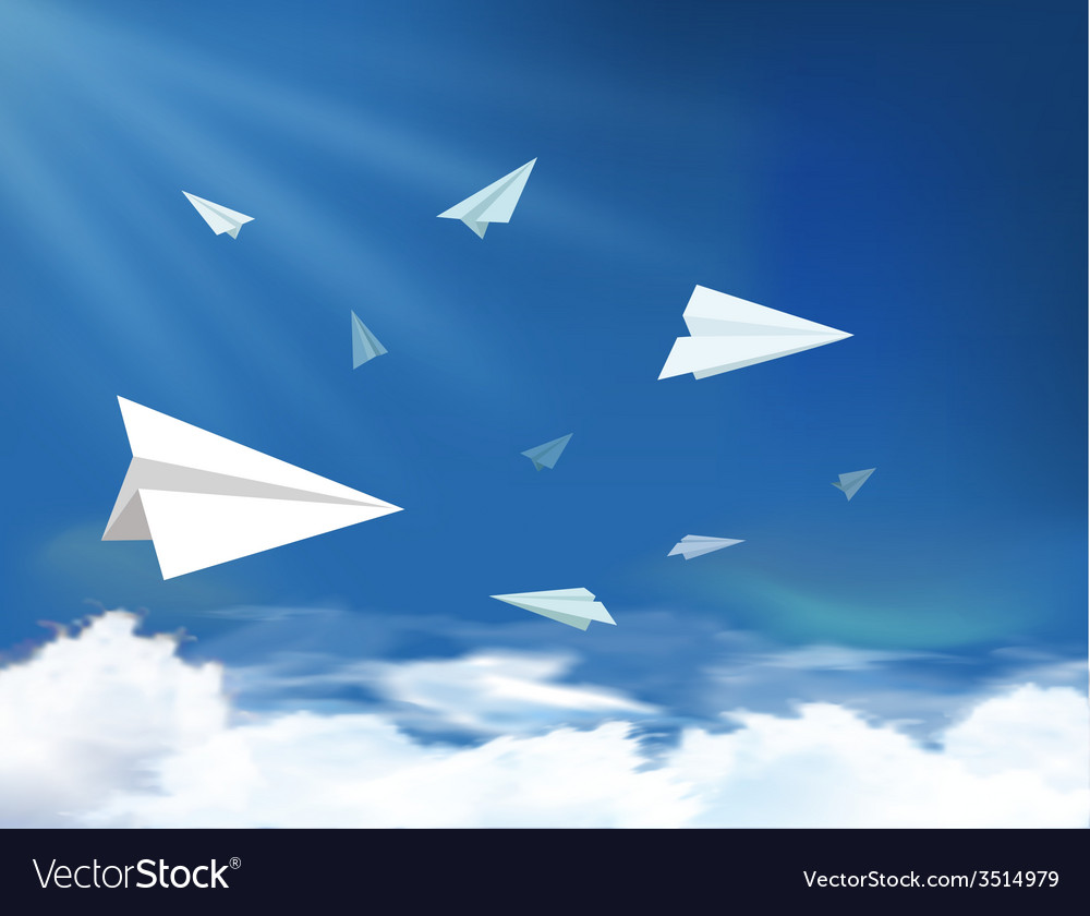 Plane flying on the sky vector   Price: 1 Credit (USD $1)
