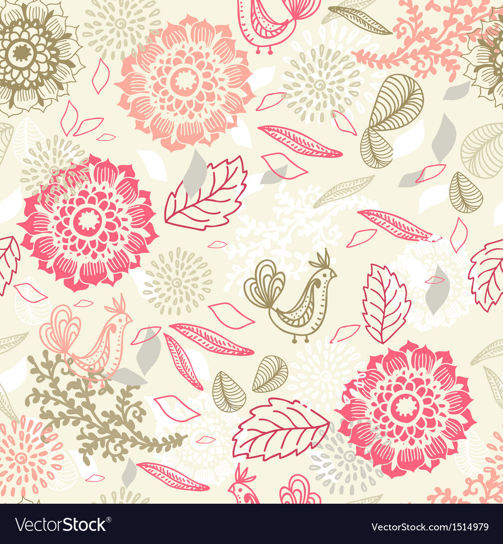 Seamless background with flower and bird vector | Price: 1 Credit (USD $1)