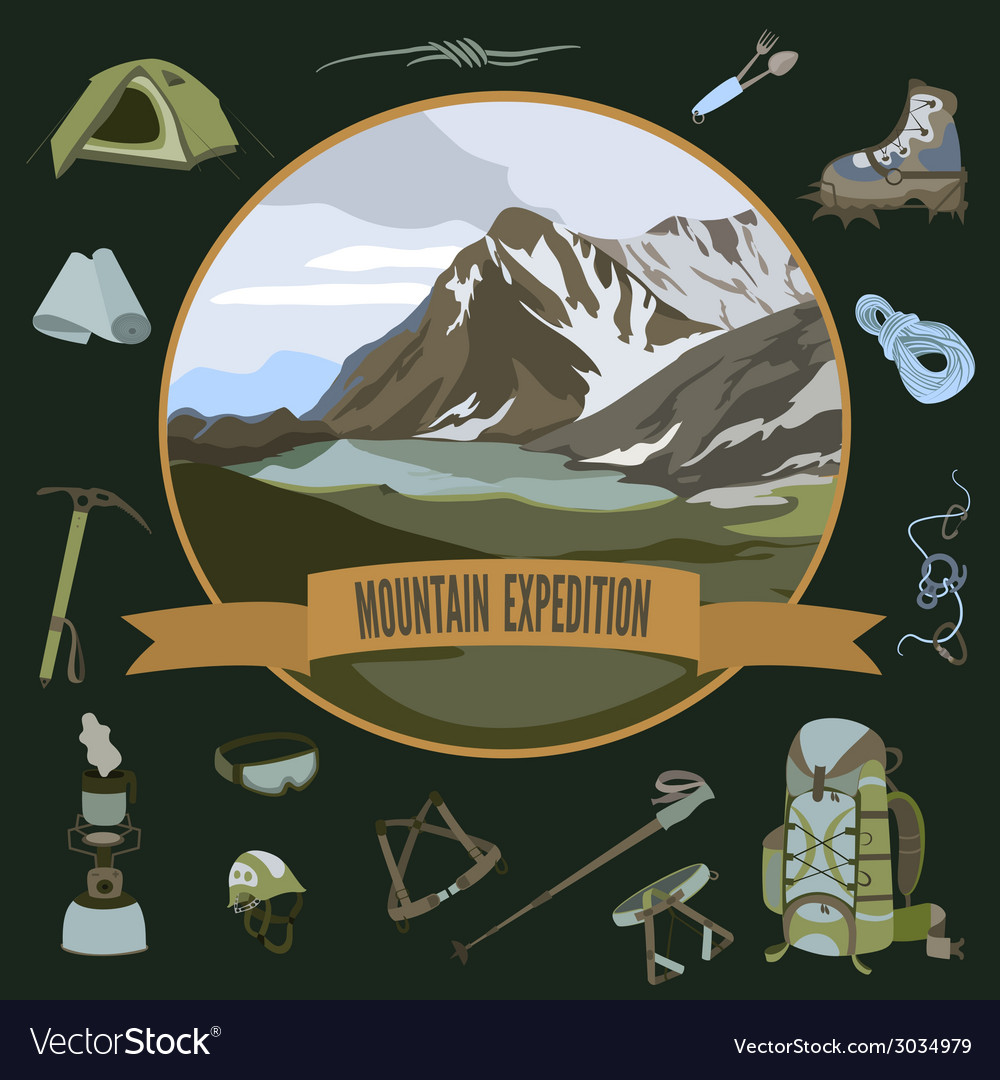 Set of mountaineering icons vector | Price: 3 Credit (USD $3)