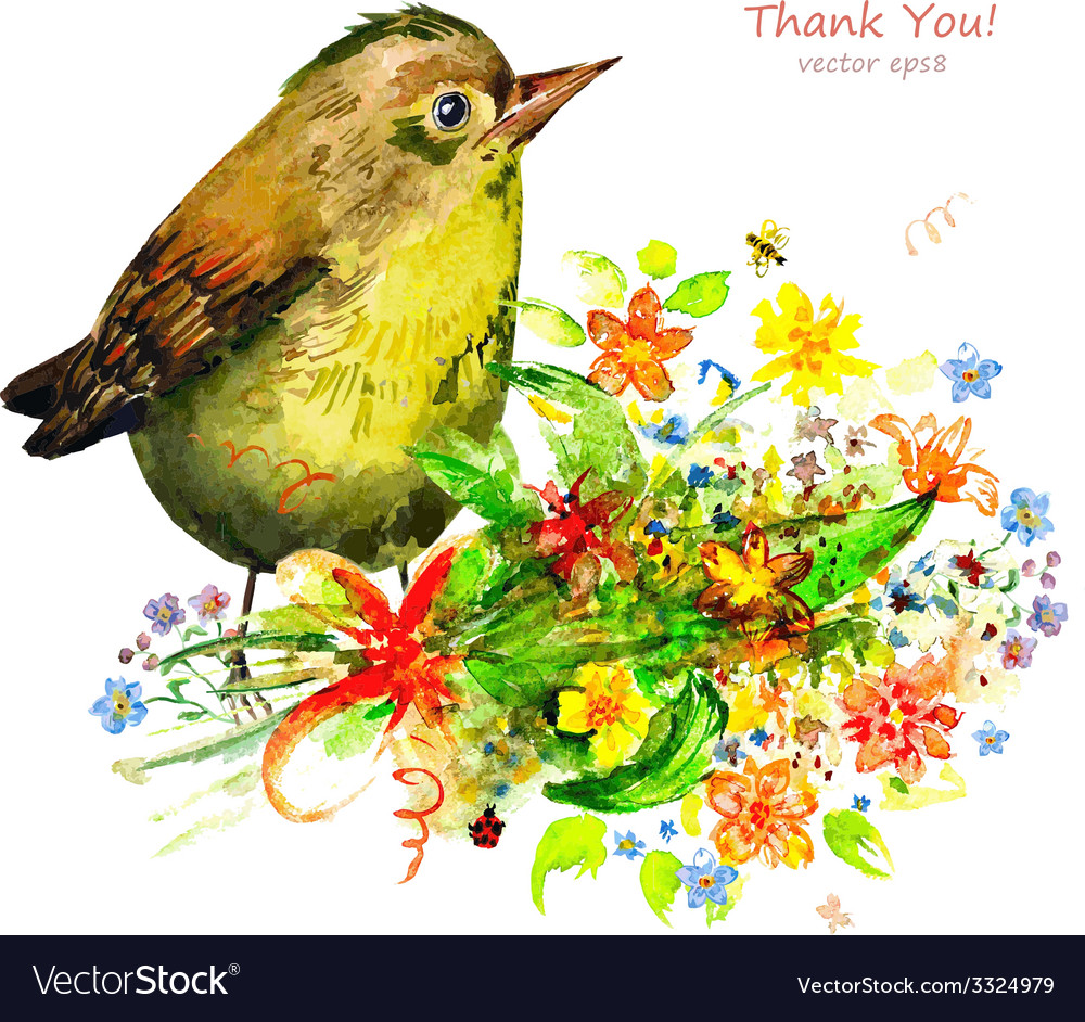 Watercolor painting cute bird with flowers vector | Price: 1 Credit (USD $1)