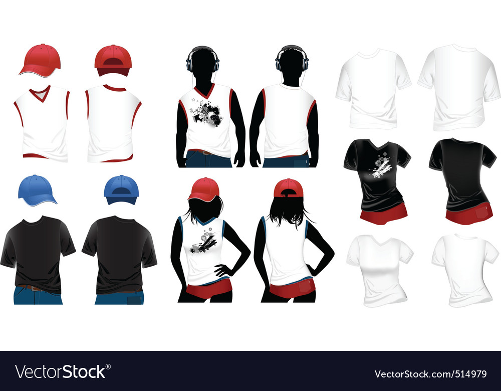 Womans and mans tshirts vector | Price: 1 Credit (USD $1)