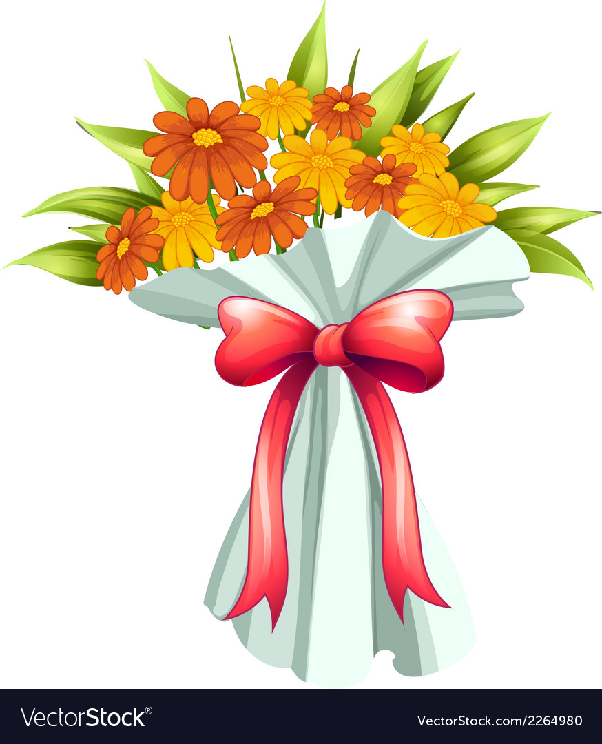 A boquet of yellow and orange flowers vector | Price: 1 Credit (USD $1)