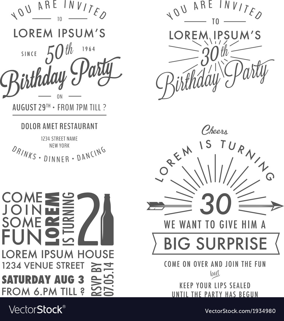 Adult birthday invitation vintage design elements vector | Price: 1 Credit (USD $1)