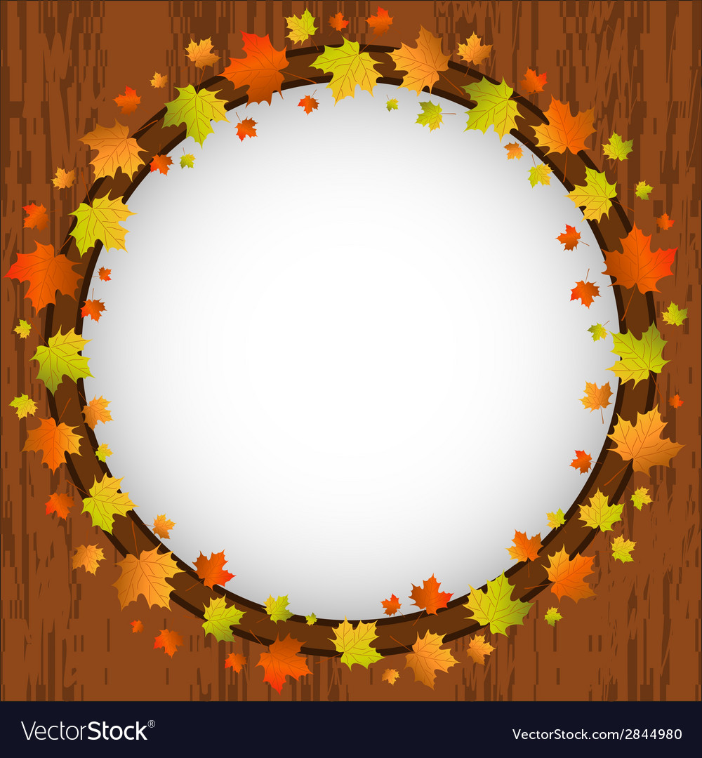 Autumn design frame wreath of colorful maple vector | Price: 1 Credit (USD $1)