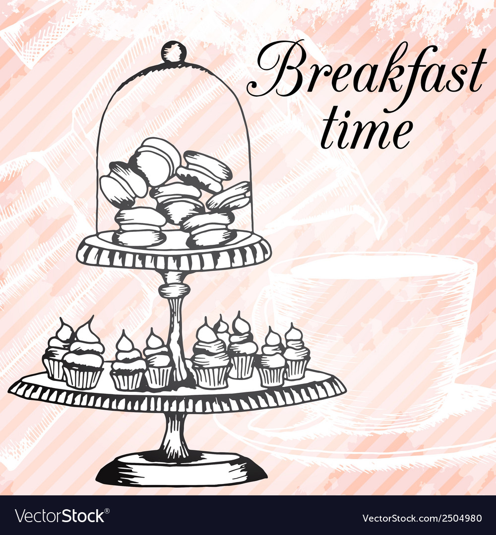 Breakfasrt retro hand drawn design card vector | Price: 1 Credit (USD $1)