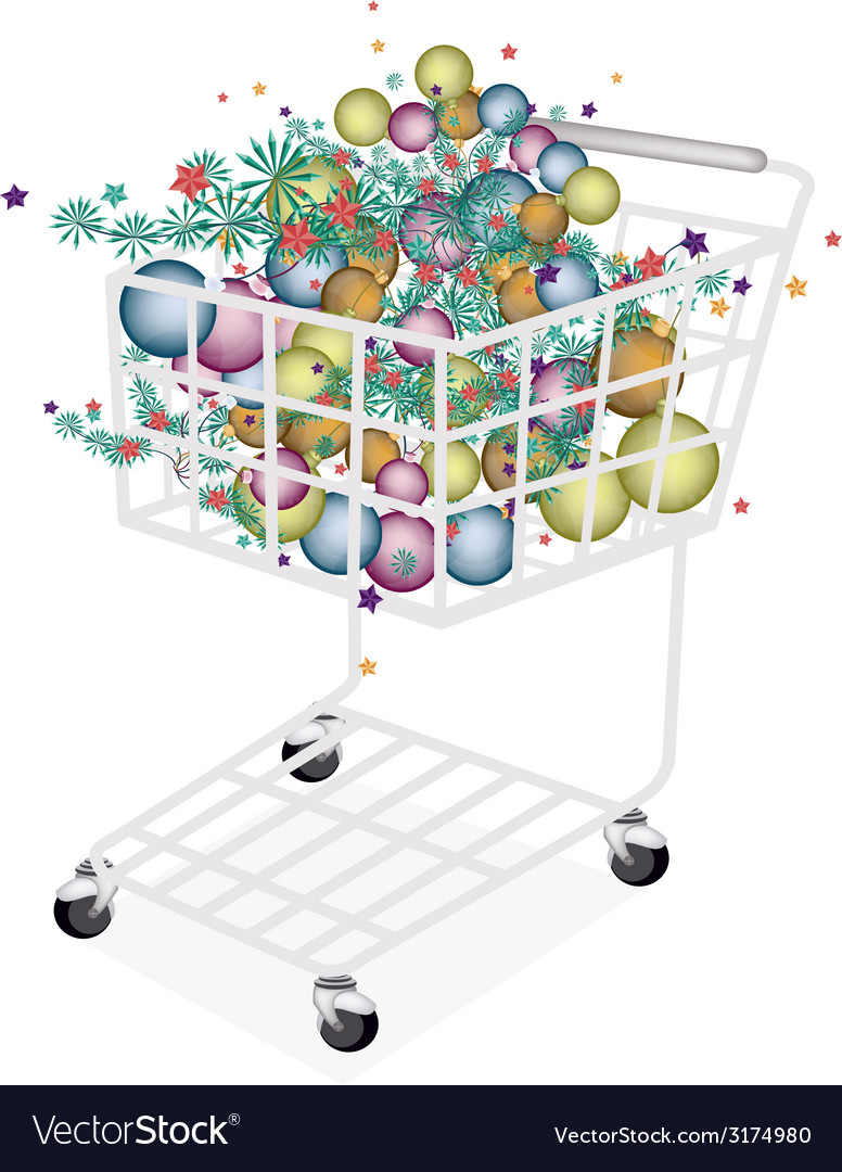 Christmas balls decoration in shopping cart vector | Price: 1 Credit (USD $1)