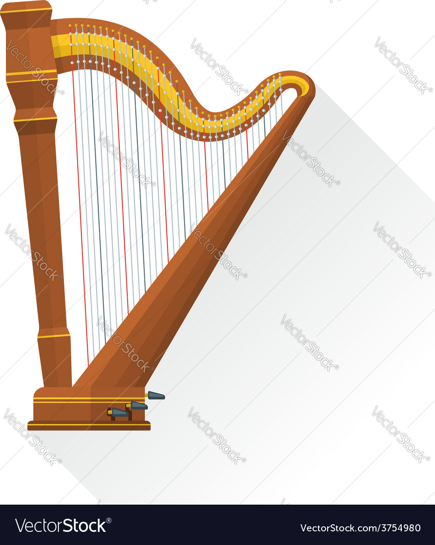 Color flat style pedal harp vector | Price: 1 Credit (USD $1)