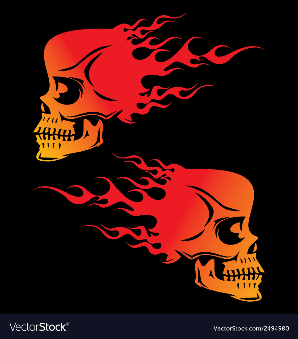Flaming skulls vector | Price: 1 Credit (USD $1)