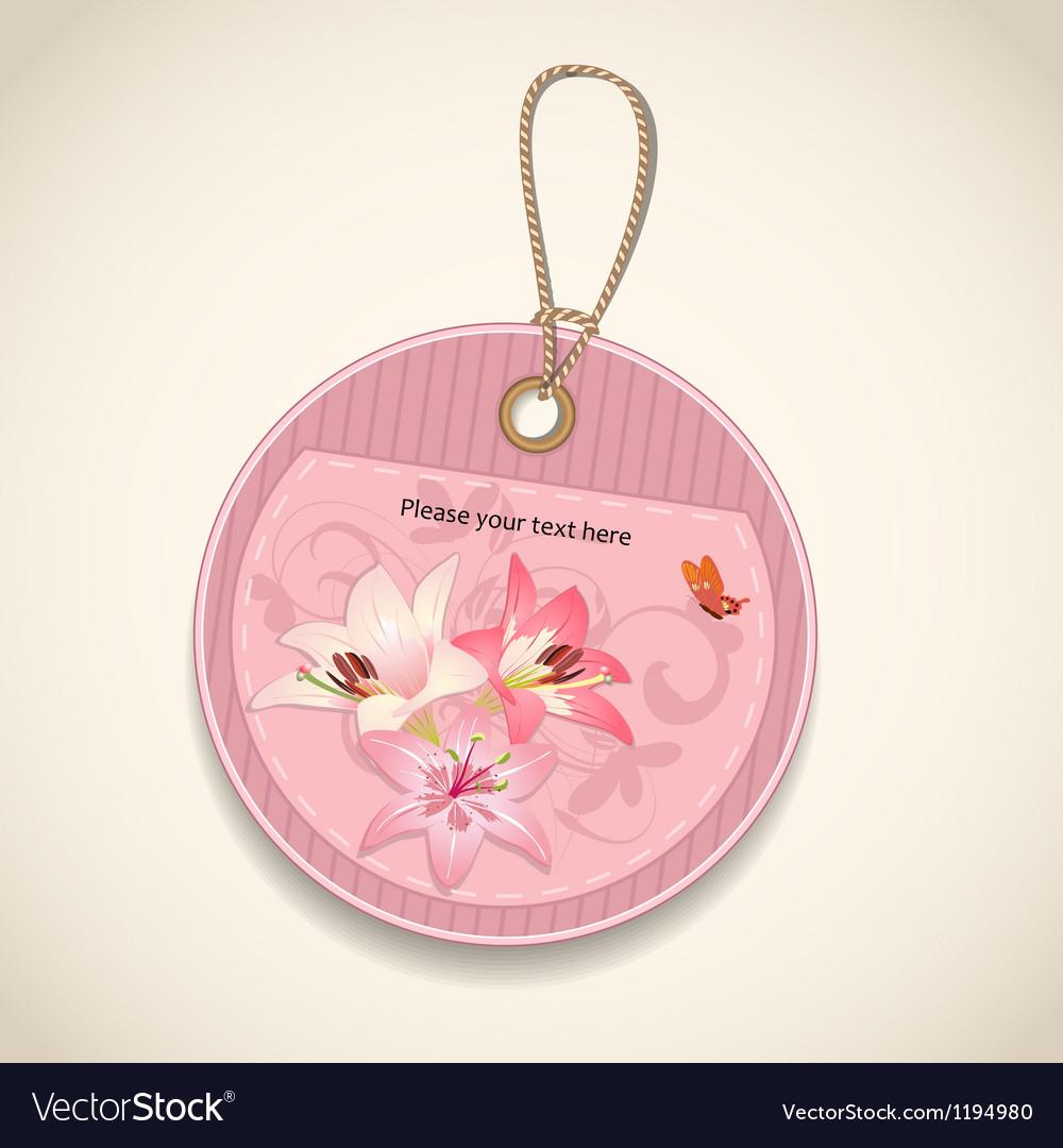 Floral design label vector | Price: 1 Credit (USD $1)