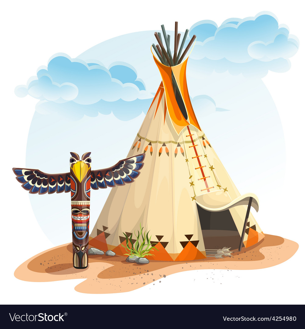 North american indian tipi home with totem vector | Price: 5 Credit (USD $5)