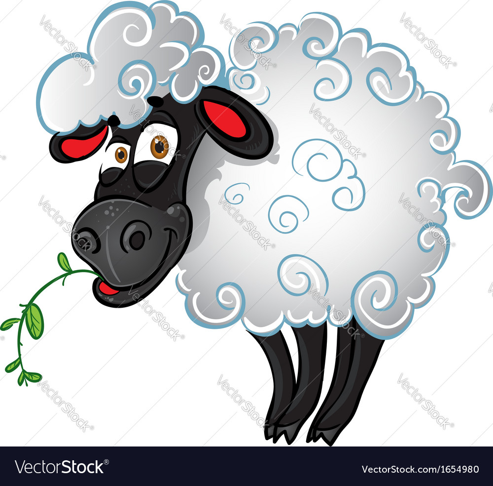 Sheep with blade of grass vector | Price: 1 Credit (USD $1)