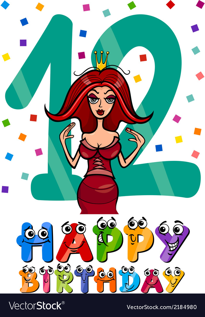 Twelfth birthday cartoon design vector | Price: 1 Credit (USD $1)