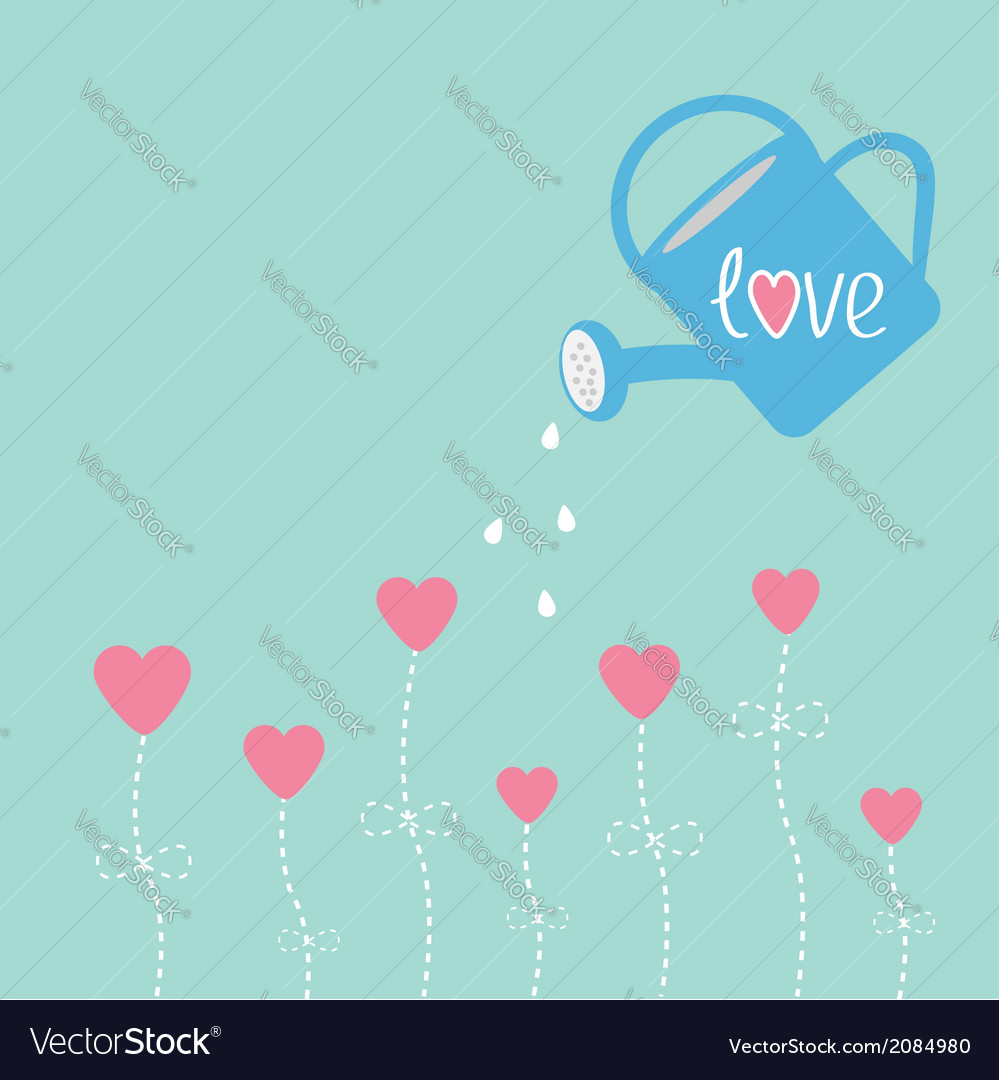 Water can and flowers in shape of heart love card vector | Price: 1 Credit (USD $1)