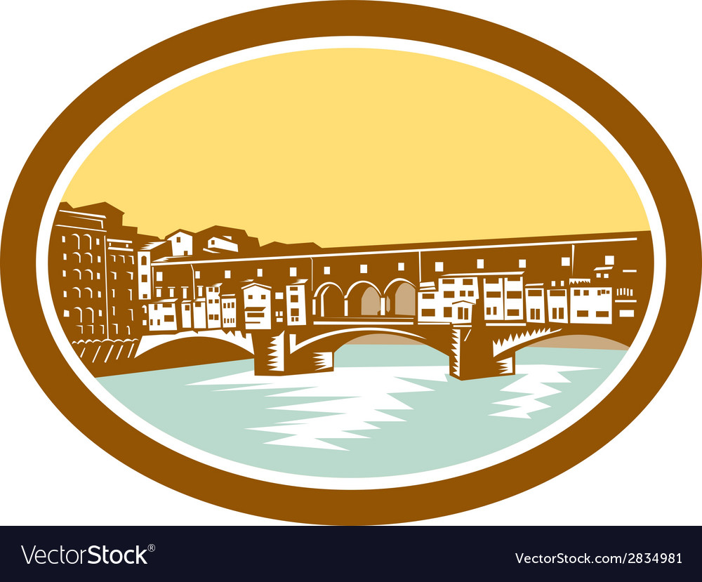 Arch bridge ponte vecchio florence woodcut vector | Price: 1 Credit (USD $1)