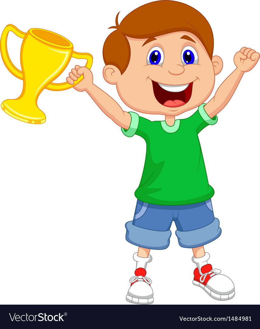 Boy cartoon holding gold trophy vector | Price: 1 Credit (USD $1)