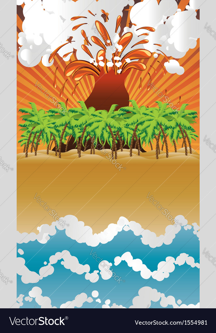 Cartoon volcano island vector | Price: 1 Credit (USD $1)